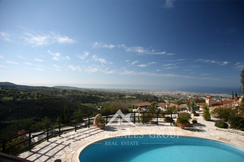 Picturesque views from patio of an exclusive villa in Leptos Olympus Village in Tsada, Cyprus