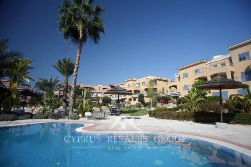 Overflow pools and spa in upmarket apartments of Leptos Estates Limnaria Gardens in Kato Paphos, Cyprus