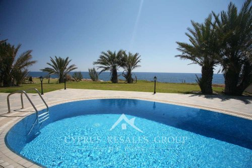 Generous garden of luxury beach front Sea Caves villa Prestige, Cyprus