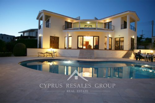 Exclusive property in Cyprus - Sea Caves Villa Perfection at night, Cyprus