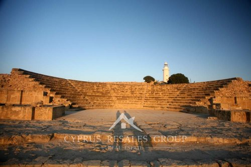 Morning shadows over ancient Odeon amphitheater in Paphos