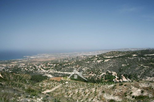 Kamares Village on the hill slopes over Mediterranean coast in Cyprus