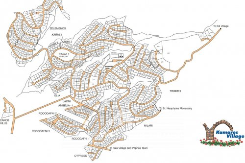 Map of Leptos Kamares Village Tala, Paphos Cyprus